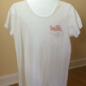Crew cream T-shirt with pocket embroidery